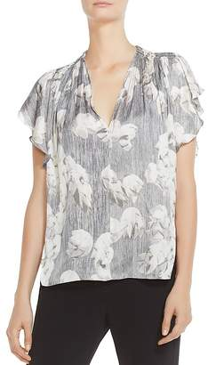 Halston Ruched Printed Flutter-Sleeve Top