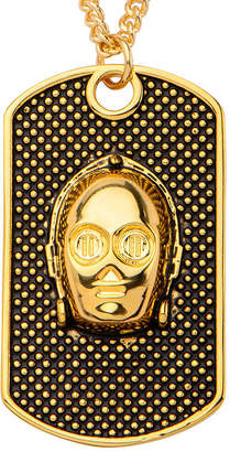 Star Wars FINE JEWELRY Yellow IP Stainless Steel 3D C-3PO Dog Tag Pendant Necklace