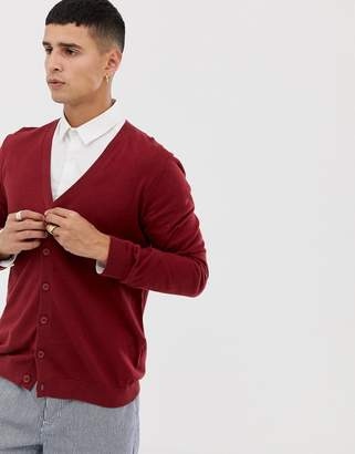 Asos DESIGN knitted cotton cardigan in burgundy