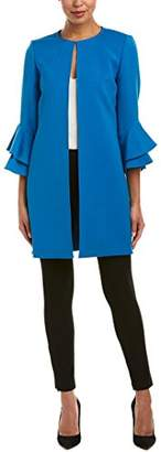 Tahari by Arthur S. Levine Women's Ponte Long Jacket with 3/4 Length Ruffle Sleeve