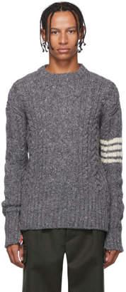 Thom Browne Grey Aran Cable 4-Bar Sweater