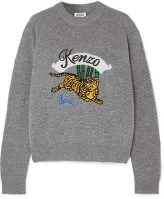 Kenzo Embroidered Intarsia Wool Sweater - Gray