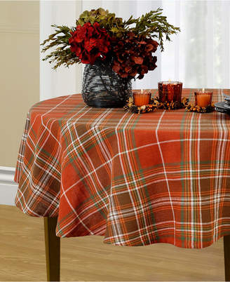 "Elrene Loden Plaid 60"" x 84"" Oval Tablecloth"