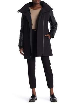 DKNY Faux Fur & Faux Leather Trim Down Coat