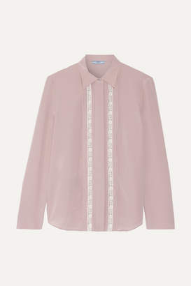 Prada Lace-trimmed Silk Crepe De Chine Shirt - Beige