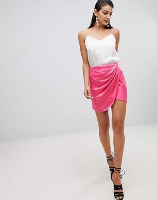 Asos DESIGN satin wrap mini skirt