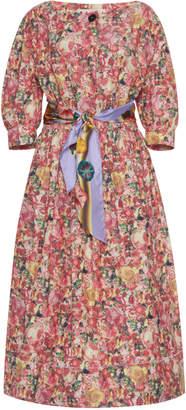 Marni Floral-Print Poplin Midi Dress