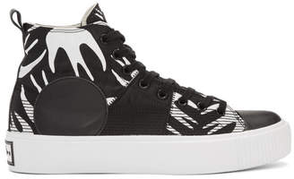 McQ Black and White Plimsoll Platform High Sneakers