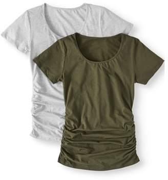Oh! Mamma Maternity Short Sleeve Tee With Flattering Side Ruching, 2-Pack - Available in Plus Sizes