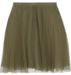 RED Valentino Pleated Point D'esprit Mini Skirt