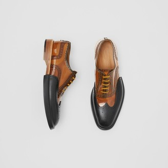 Burberry Toe Cap Detail Vinyl and Leather Oxford Brogues