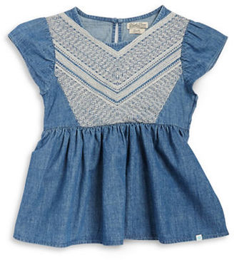 Lucky Brand Girls 7-16 Embroidered Denim Top $42 thestylecure.com