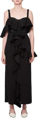 Proenza Schouler Sleeveless Cutout-Back Chantilly Evening Gown with Ruffled Frills