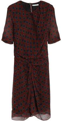 Etoile Isabel Marant Knotted Polka-Dot Silk-Georgette Mini Dress