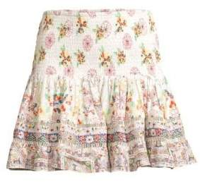 Camilla Short Floral Shirred Silk A-Line Skirt