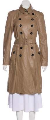 Burberry Double-Breasted Leather Coat