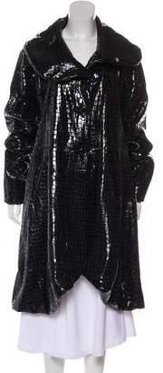 Giorgio Armani Fur-Trimmed Embossed Coat