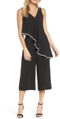 Adrianna Papell Contrast Trim Crop Jumpsuit