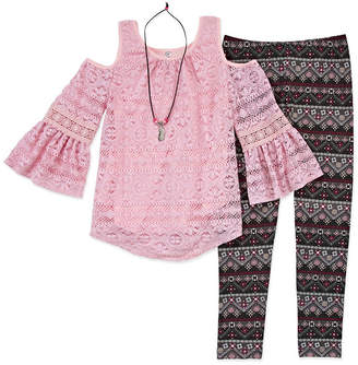 Knitworks Knit Works Lace Cold Shoulder Top Legging Set with Necklace - Girls' 4-16 & Plus