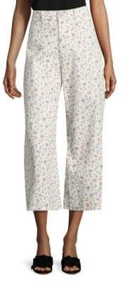 Rebecca Taylor Floral Vine Twill Wide-Leg Pants