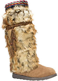 Muk Luks Leela Boots with Faux Fur, Feather Det