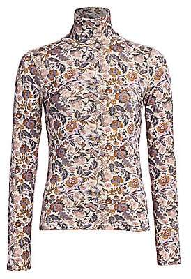 See by Chloe Women's Floral Print Wool-Blend Turtleneck Sweater