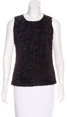 Celine Fur-Accented Cashmere Top