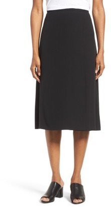 Women's Eileen Fisher Silk A-Line Faux Wrap Skirt $318 thestylecure.com