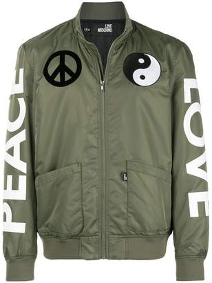 Love Moschino Peace Love bomber jacket