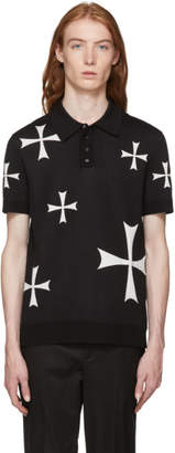 Neil Barrett Black and White Knit Crosses Polo