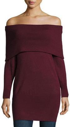 Ella Moss Jodi Off-the-Shoulder Tunic Sweater, Port $255 thestylecure.com