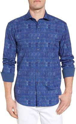 Bugatchi Shaped Fit Patchwork Plaid Sport Shirt