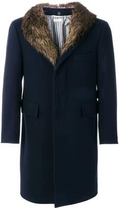Thom Browne Detachable Gold Beaver Collar Melton Wool Chesterfield Overcoat