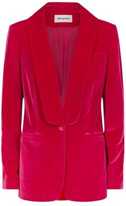 Self-Portrait Relaxed-Fit Velvet Blazer