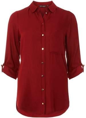 Dorothy Perkins Womens Burgundy Plain Twill Shirt