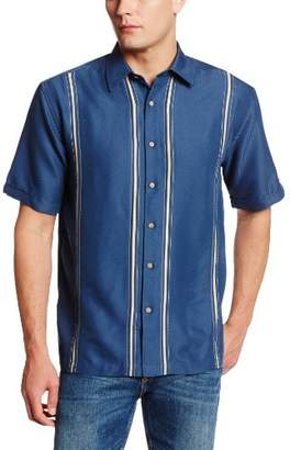 Cubavera Men's Short Sleeve Point-Collar L-Shape Embroidered Shirt
