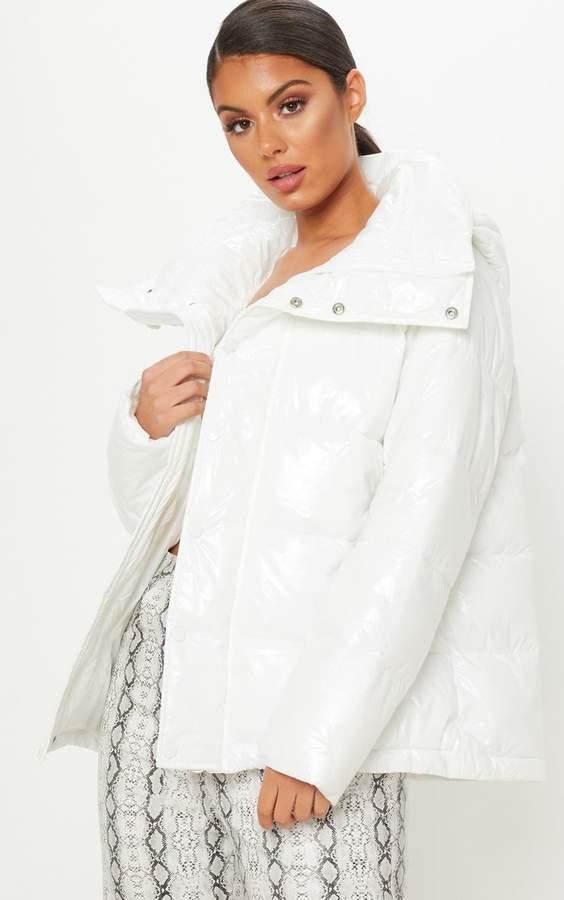 White High Shine Oversized Hooded Puffer