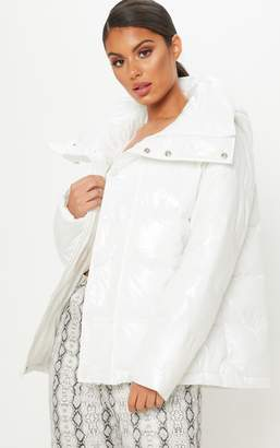 PrettyLittleThing White High Shine Oversized Hooded Puffer