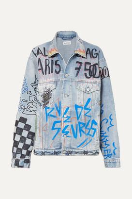 Balenciaga Oversized Printed Denim Jacket - Mid denim