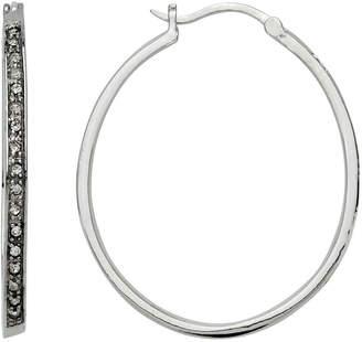 BRIDGE JEWELRY Cubic Zirconia Long Hoop Earrings