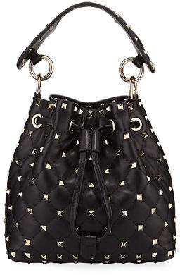 Valentino Rockstud Spike Quilted Bucket Bag
