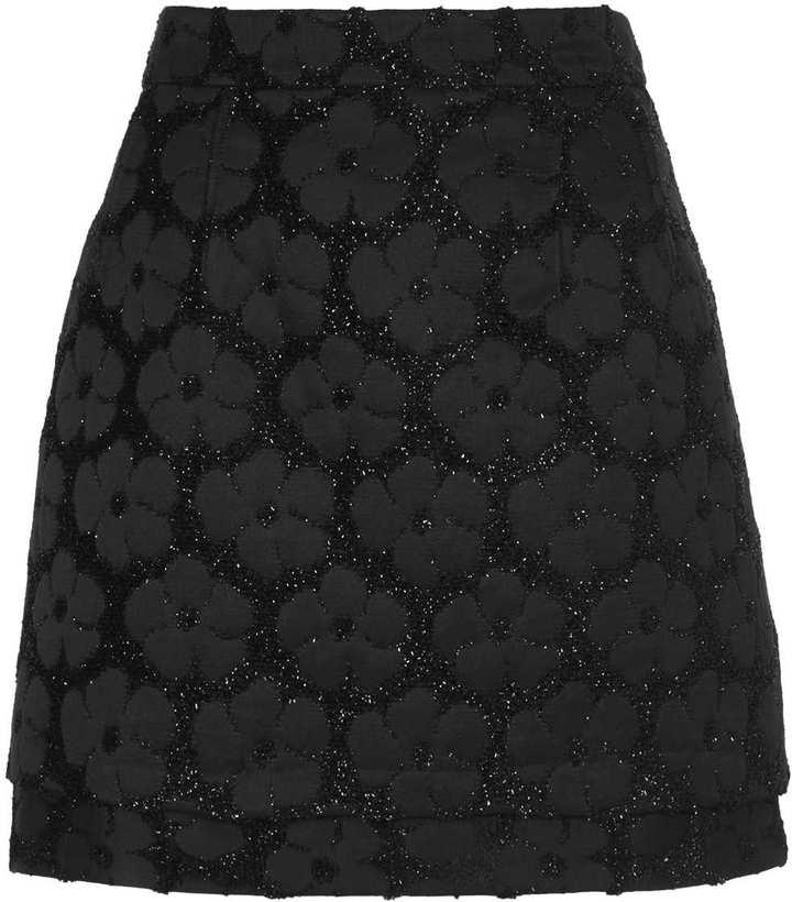 Topshop Black Fluffy Floral Pelmet Skirt