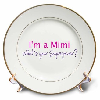 3dRose Im a Mimi. Whats your Superpower - hot pink - funny gift for grandma - Porcelain Plate, 8-inch