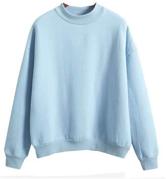 MonaPiya Clothing Store Teen Girls Korean Solid Sky Candy Pastel Autumn Pullover Hoodies Sweater Size M