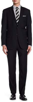 Hart Schaffner Marx Black Two Button Notch Lapel Wool New York Fit Suit