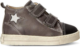 Falcotto (Toddler Boys) Black Star Leather High-Top Sneakers