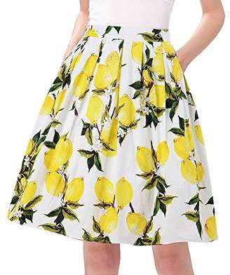 Taydey Vintage Pleated Skirts for Women Short Floral Size 3XL