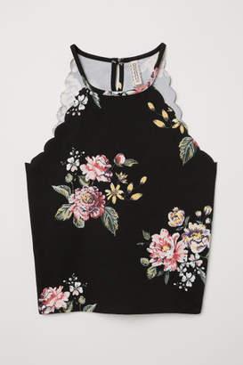 H&M Scallop-edged Top - Black
