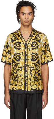 Versace Black and Yellow Silk Hibiscus Shirt