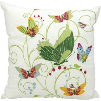 "Nourison Indoor/Outdoor Green Butterfly Pillow, White, 18"" x 18"""